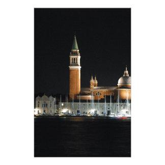 Venise la nuit papier à lettre personnalisable