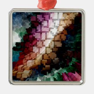 Vent foncé central de cube ornement carré argenté