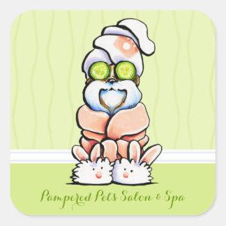 Vente de concombre de Shih Tzu de spa de Groomer Sticker Carré