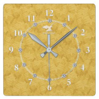 Vente décorée moderne d'horloge murale du diamant horloge carrée