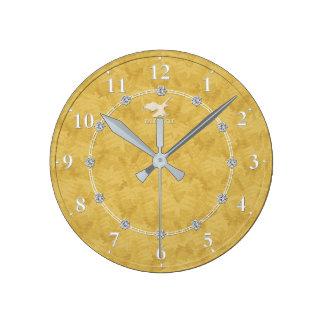 Vente décorée moderne d'horloge murale du diamant horloge ronde