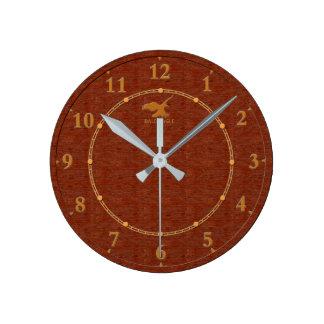 Vente moderne décorative en bois rouge d'horloge horloge ronde