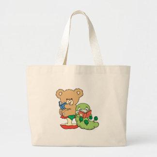 Ver de livre et ours mignons de lecture grand sac