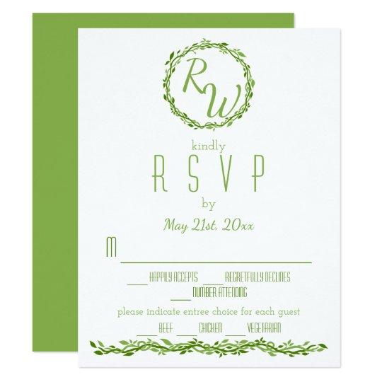 Verdure l'épousant sylvatique RSVP de vigne de Carton D'invitation 10,79 Cm X 13,97 Cm