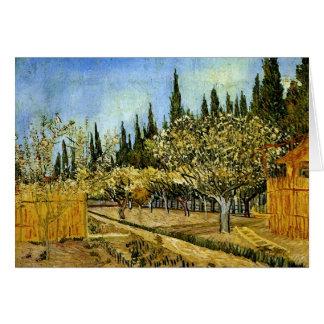Verger dans la fleur, cyprès, Vincent van Gogh Carte De Vœux