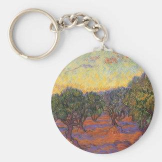 Verger olive, ciel orange par Vincent van Gogh Porte-clé Rond