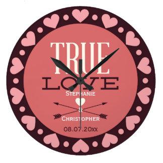 Véritable cadeau de mariage personnalisé d'amour grande horloge ronde