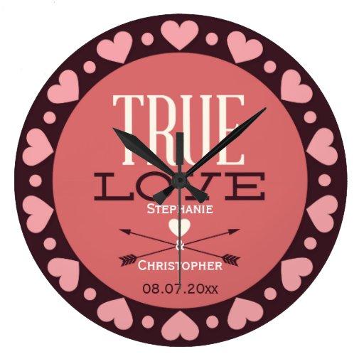 Véritable cadeau de mariage personnalisé d'amour pendules