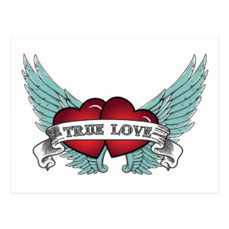 Véritable coeur à ailes d'amour par rockabilly carte postale