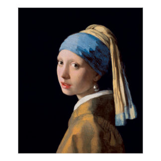 VERMEER - Fille avec une boucle d'oreille 1665 de Poster