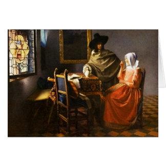Vermeer le verre de la carte de voeux de vin