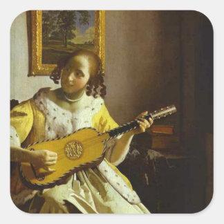 Vermeer vintage l'autocollant de joueur de guitare sticker carré