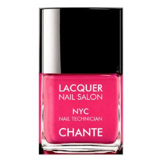 Vernis à ongles rose au néon à la mode élégant carte de visite standard