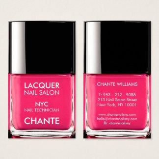 Vernis à ongles rose au néon à la mode élégant cartes de visite
