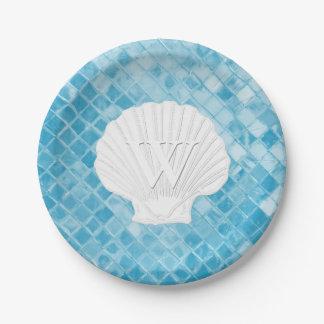 Verre bleu de mer de monogramme de Shell de feston Assiettes En Papier
