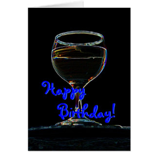 Verre de carte d'anniversaire de vin