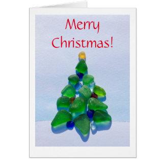 Verre de mer, carte en verre de vacances de Noël