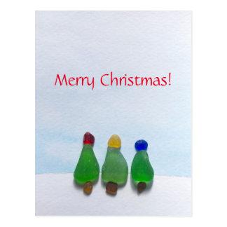 Verre de mer, carte postale en verre de Noël de