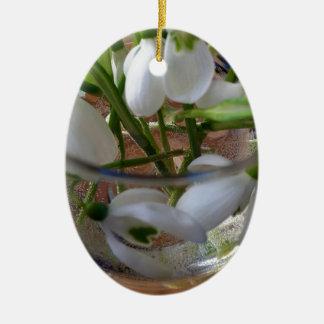 verre de perce-neiges ornement ovale en céramique