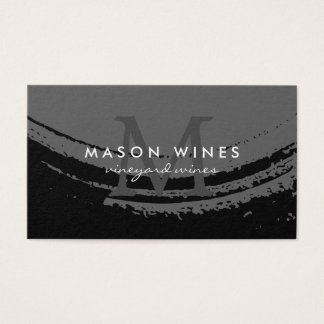 Verre de vin balayé artistique de monogramme cartes de visite
