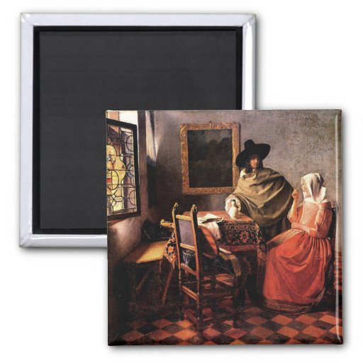Verre de vin par Johannes Vermeer Magnets