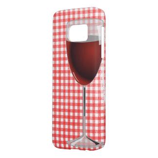 verre de vin rouge sur le guingan coque samsung galaxy s7