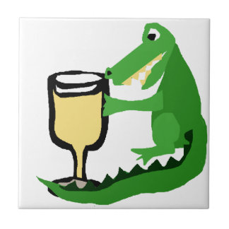 Verre drôle de boissons d'alligator de vin blanc carreau