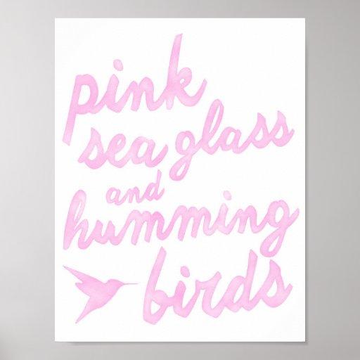 Verre et colibris roses de mer posters