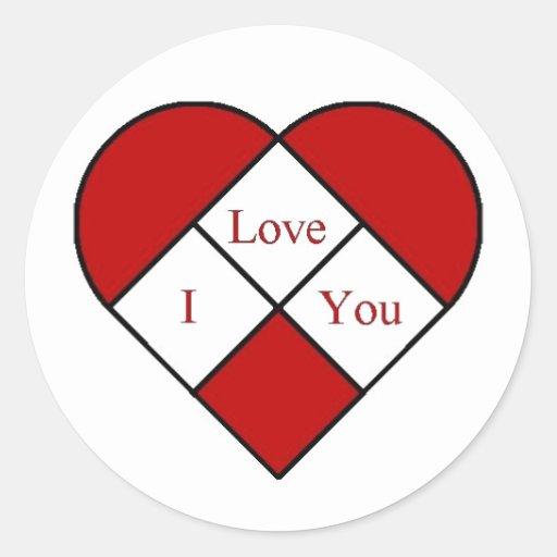 """Verre """"je t'aime"""" coeur de tache adhésif"""