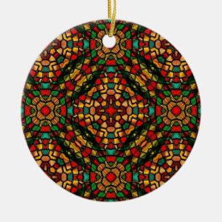 verre souillé d'art de kaleido ornement rond en céramique