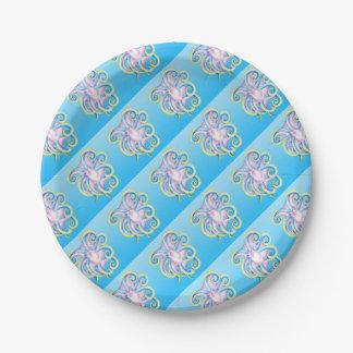 Verre souillé de poulpe bleu assiettes en papier