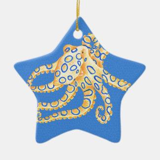 Verre souillé de poulpe bleu ornement étoile en céramique