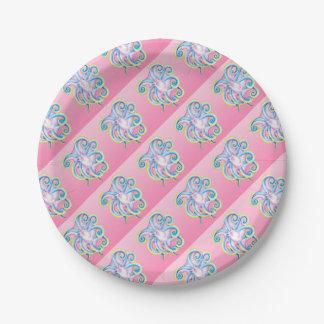 verre souillé de rose de poulpe assiettes en papier
