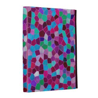Verre souillé de texture de mosaïque de folio coques iPad folio