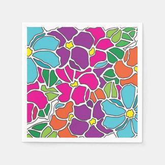 Verre souillé floral vibrant serviettes jetables