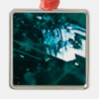 verre vert brisé ornement carré argenté