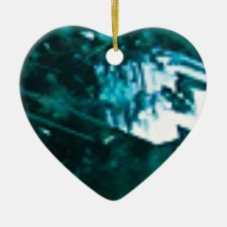 verre vert brisé ornement cœur en céramique