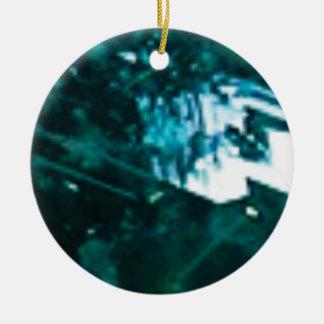 verre vert brisé ornement rond en céramique