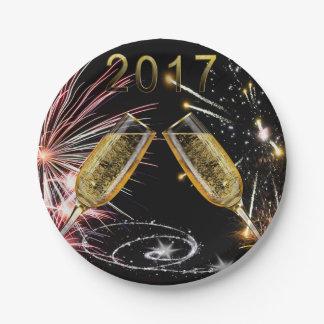 Verres 2017 et feux d'artifice de Champagne Assiettes En Papier