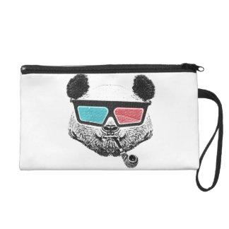 Verres à trois dimensions de panda vintage sac à main avec dragonne