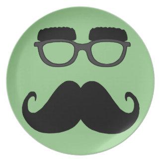 Verres avec la moustache assiettes en mélamine