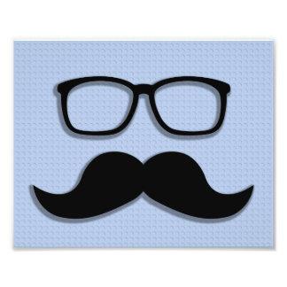 Verres de moustache de hippie de geek  tirage photo