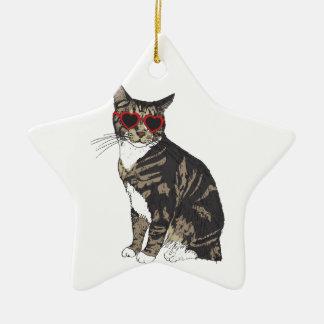 Verres de port de coeur de chat ornement étoile en céramique