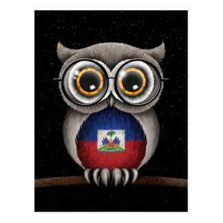 Verres de port de hibou haïtien mignon de drapeau carte postale