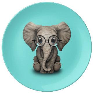 Verres de port d'éléphant ringard de bébé assiette en porcelaine