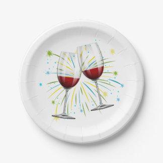 Verres de vin rouges de Bourgogne épousant le Assiettes En Papier