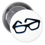 Verres nerd frais dans noir et le blanc badges avec agrafe