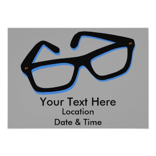 Verres nerd frais dans noir et le blanc carton d'invitation  12,7 cm x 17,78 cm