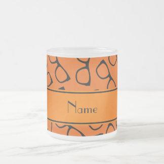 Verres noirs oranges nommés personnalisés mug en verre givré