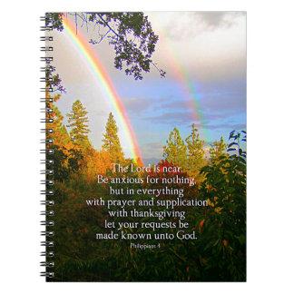 Vers chrétien de bible d'écriture sainte de forêt carnet